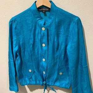 Vintage Blue Button Up Blouse with Pockets